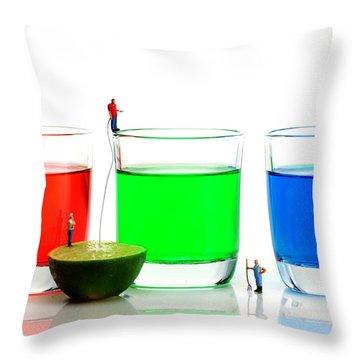Filling Rgb Lemonade Throw Pillow by Paul Ge