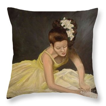 Throw Pillow featuring the painting Final Preparations by Julie Brugh Riffey