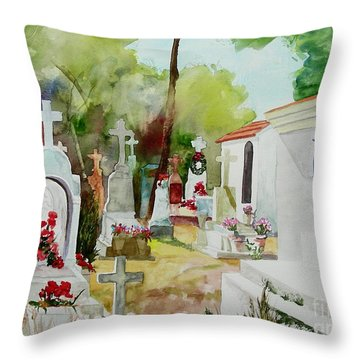 Throw Pillow featuring the painting Final Resting Place by Tom Riggs