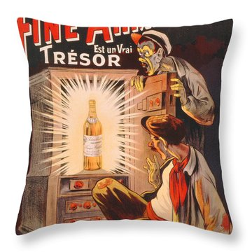 Fine Armagnac Advertisement Throw Pillow by Eugene Oge