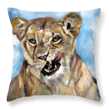 Throw Pillow featuring the painting Finger Lickin Good by Rae Andrews