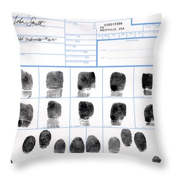Fingerprint Identification Application Throw Pillow by Science Source