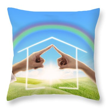 Fingers Touching Together Throw Pillow by Setsiri Silapasuwanchai