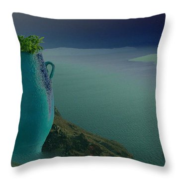 Fira View Santorini Greece Throw Pillow