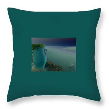 Throw Pillow featuring the photograph Fira View Santorini Greece by Colette V Hera  Guggenheim