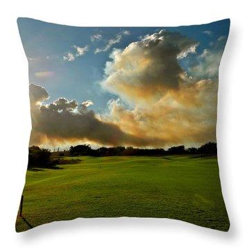 Fire Clouds Over A Golf Course Throw Pillow