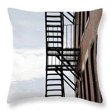 Fire Escape In Boston Throw Pillow by Elena Elisseeva