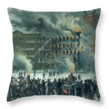 Fire In The New York World Building Throw Pillow