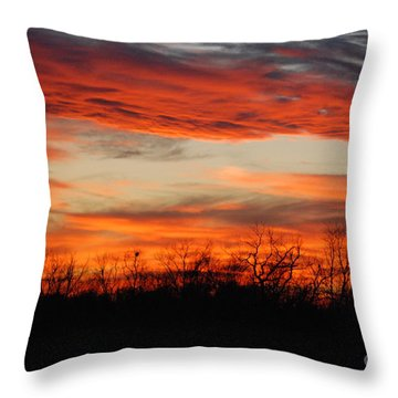 Throw Pillow featuring the photograph Fire In The Sky by Mark McReynolds