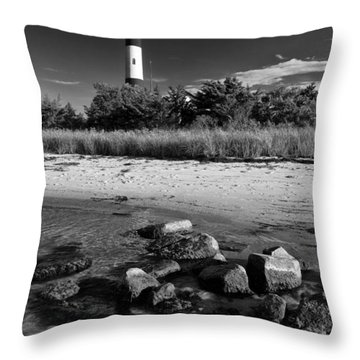 Fire Island In Black And White Throw Pillow