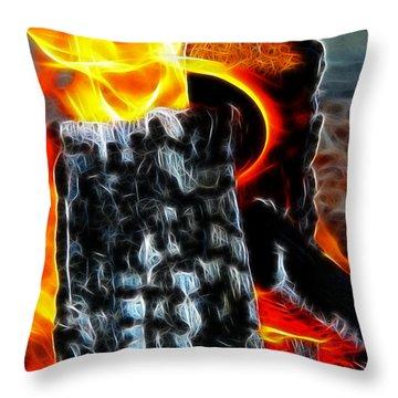 Fire Magic Throw Pillow by Mariola Bitner