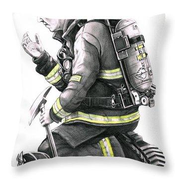 Firefighter Throw Pillow by Murphy Elliott