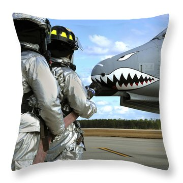 Firefighters Deploy A Fire Hose Throw Pillow by Stocktrek Images
