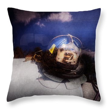 Fireman - Captains Hat Throw Pillow by Mike Savad