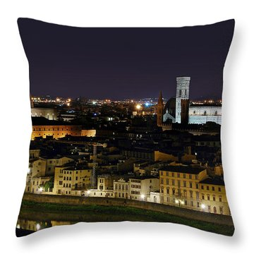 Firenze Skyline At Night - Duomo And Surroundings Throw Pillow