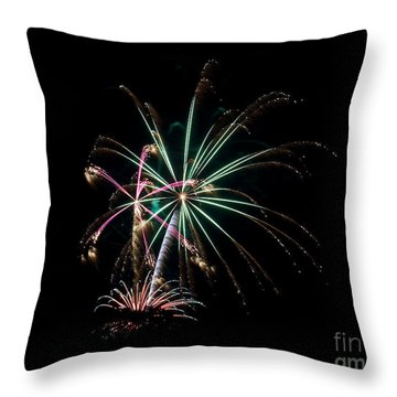 Throw Pillow featuring the photograph Fireworks 11 by Mark Dodd