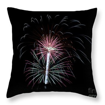 Throw Pillow featuring the photograph Fireworks 13 by Mark Dodd