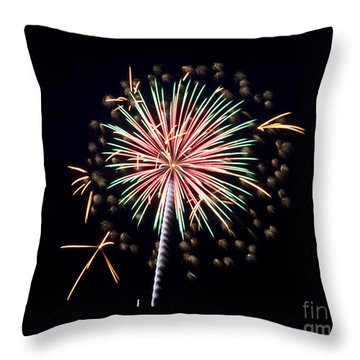 Throw Pillow featuring the photograph Fireworks 9 by Mark Dodd