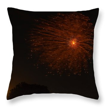 Throw Pillow featuring the photograph Fireworks And Wildfire Moon by Tom Gort