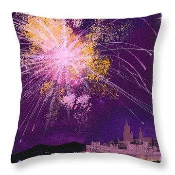 Fireworks In Malta Throw Pillow by Angss McBride