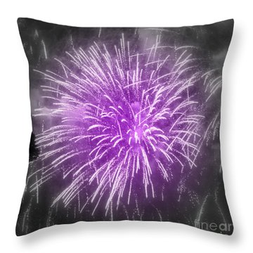 Fireworks In Mauve Throw Pillow by France Laliberte