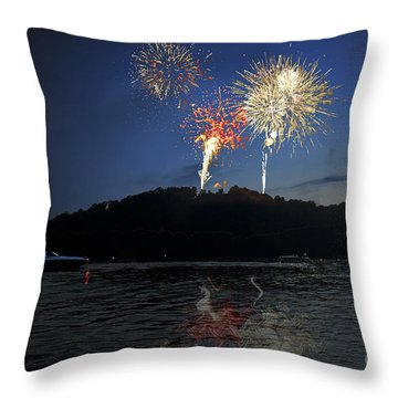 Fireworks On Lake Throw Pillow by Dan Friend