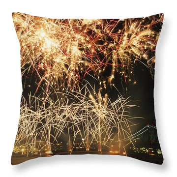 Fireworks Over Harbour Throw Pillow by Axiom Photographic