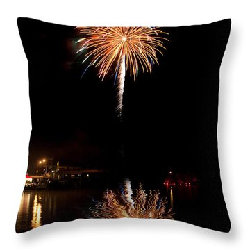Throw Pillow featuring the photograph Fireworks Over Lake by Cindy Haggerty
