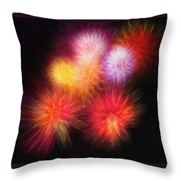 Fireworks Triptych Throw Pillow by Steve Ohlsen