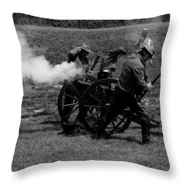 Firing The Canon Throw Pillow by Karen Harrison