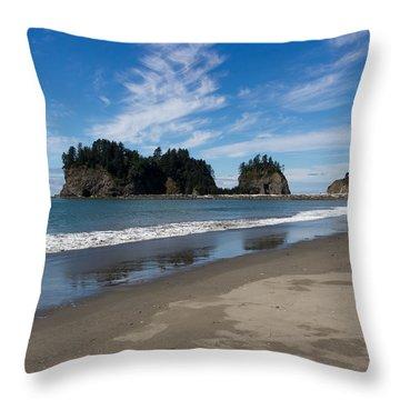 First Beach Throw Pillow by Heidi Smith