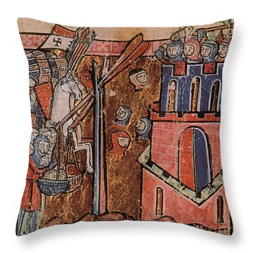 First Crusade Germ Warfare Siege Throw Pillow by Photo Researchers