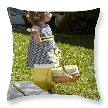 First Easter Egg Hunt Throw Pillow by Steven Sparks