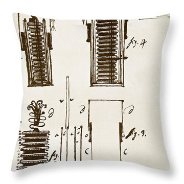 First Electric Battery Throw Pillow by Science Source