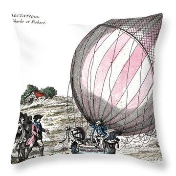 First Manned Hydrogen Balloon Flight Throw Pillow by Photo Researchers