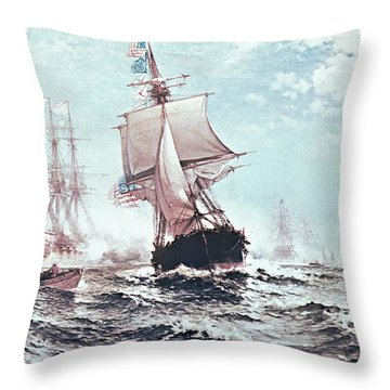 First Recognition Of The Stars And Stripes Throw Pillow by Edward Moran