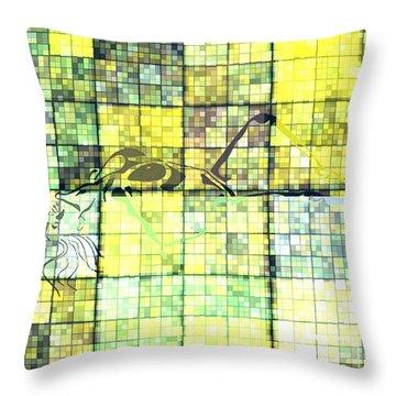 First Time Geometric Yellow Throw Pillow by Mayhem Mediums