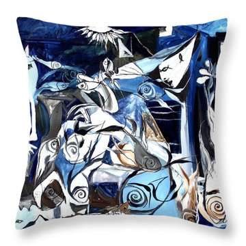 Fish Guernica Throw Pillow