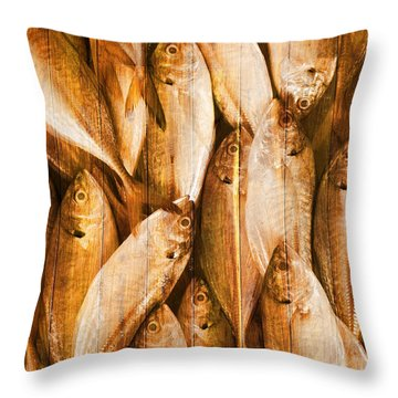 Fish Pattern On Wood Throw Pillow by Setsiri Silapasuwanchai