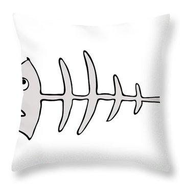 Fish Skeleton - Fishbones Throw Pillow by Michal Boubin