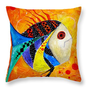 Fish Splatter II Throw Pillow