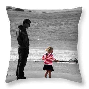 Throw Pillow featuring the photograph Fish With Me Daddy by Terri Waters