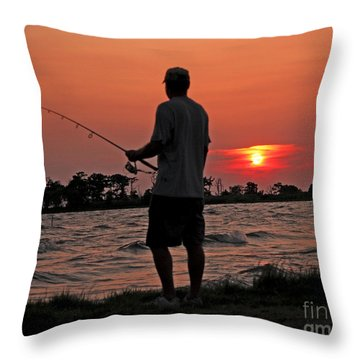 Throw Pillow featuring the photograph Fisherman And Lighthouse Sunset by Luana K Perez
