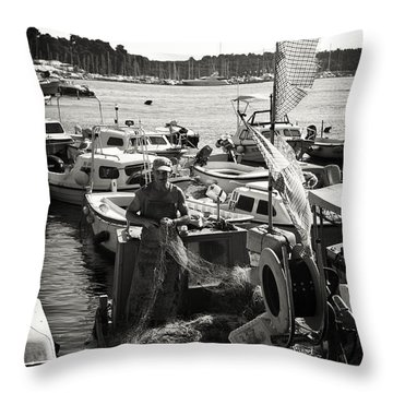 Fisherman Throw Pillow by Madeline Ellis