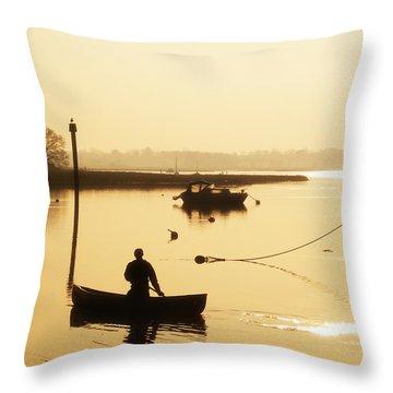 Fisherman On Lake Throw Pillow by Pixel Chimp