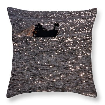 Fisherman Throw Pillow by Stelios Kleanthous