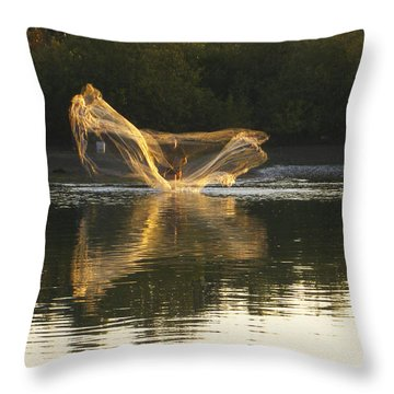 Fisherman Throwing His Net Throw Pillow by Anne Mott