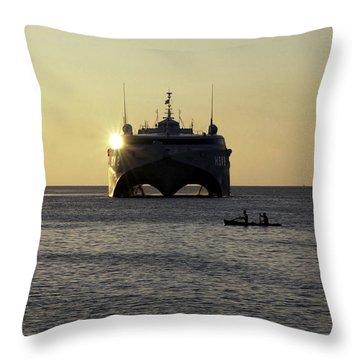 Fishermen Paddle Their Canoe Throw Pillow by Stocktrek Images