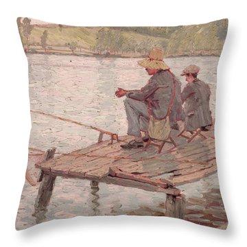 Fishermen Throw Pillow by Pierre Roche