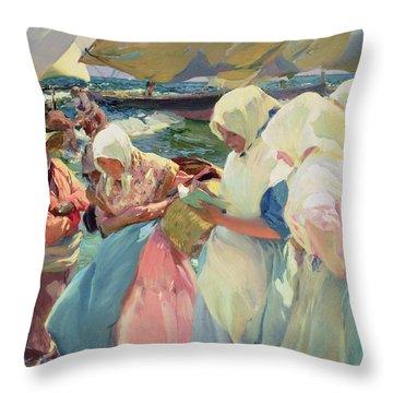 Fisherwomen On The Beach Throw Pillow